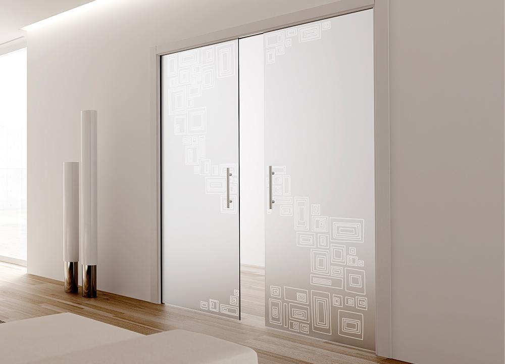 Double intérieure porte Coulissante à galandage, en verre et décors
