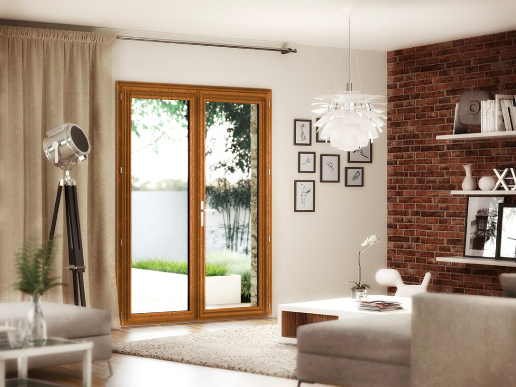 Passion Menuiserie : Porte fenêtre PVC Chêne Doré