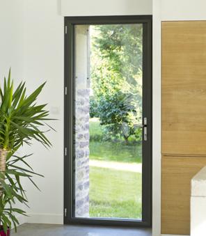 Portes fenêtre 1 vantail en Aluminium gris.