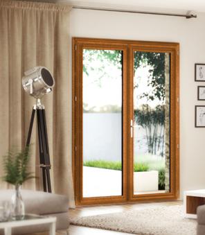 Portes-fenêtre en PVC 2 vantaux, couleur chêne doré.