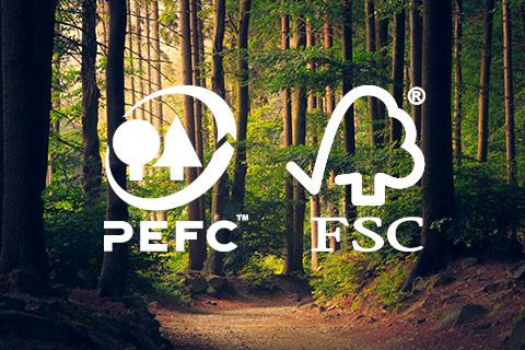 PEFC ET FSC, des labels garantissant du bois issu de forêts européennes gérées durablement.