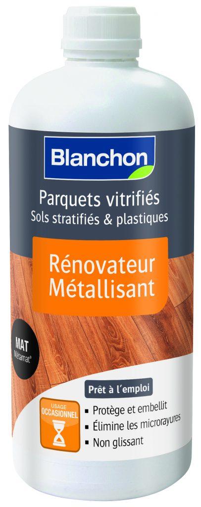 Produit Blanchon pour parquets vitrifiés et sols stratifiés, rénovateur métallisant.